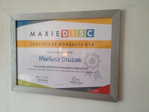 Certyfikat konsultanta Maxie Disc style zachowań - Mariusz Dłużak